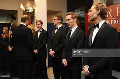The Duke of Cambridge speaks with actor David Kross as David Thewlis, Benedict Cumberbatch and Tom Hiddleston look on as they attend the 'War Horse' UK film premiere at the Odeon Leicester Square on January 8, 2012 in London, England.