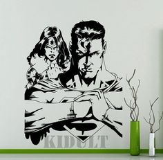 Superman and Wonder Woman DC Super Hero Wall Decals Wall Stickers Creative Home Interior Decoration Pattern Vinyl Stickers Mural