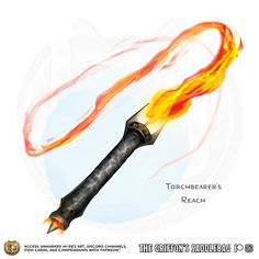 Torchbearer's Reach Weapon (whip), uncommon ___ This weapon has the Light property and does fire damage instead of slashing. Dungeons And Dragons Homebrew, D&d Dungeons And Dragons, Fantasy Armor, Fantasy Weapons, Anime Weapons Scythe, Cosplay Weapons, Armas Ninja, Dnd 5e Homebrew, Weapon Concept Art