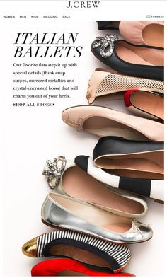 Crew's swoon-worthy ballet flats, craftsmanship and style Email Marketing Design, Email Design, Foto Still, Shoe Advertising, Shoes Ads, Women's Shoes, Shoes Photo, Chanel Ballet Flats, Fashion Shoes