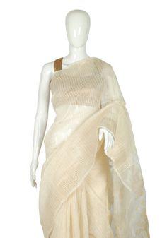 Off-White Matka Silk Saree – Desically Ethnic