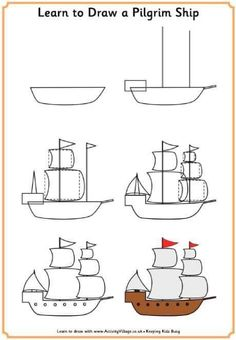 Fun printable learn to draw tutorials for kids with a Thanksgiving theme! Learn to draw a pilgrim, a Native American, a turkey and the Mayflower with our step by step method. Art Drawings For Kids, Drawing For Kids, Easy Drawings, Art For Kids, Learn Drawing, Thanksgiving Pictures, Thanksgiving Activities, Drawing Lessons, Art Lessons