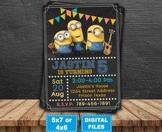 Minions invitation, minions printable, minion birthday invitations, minions party invite, minions birthday, minions digital, banana minions.