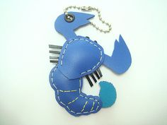Sam the Scorpion leather charm  Bright Blue  by leatherprince, $20.90