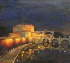 Castel Sant'Angelo by Andrey Levin  2017, oil on canvas, 90x100 cm