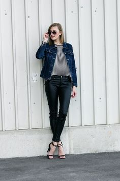 Katiquette. street style: Stripes, denim and leather.