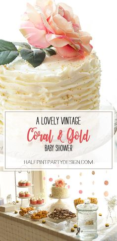 Feature Friday: Vintage Coral & Gold Baby Shower | Halfpint Design - this real life baby shower had beautiful decorative elements to tie in with the nursery decor, and some non-cheesy shower activities that were actually fun!