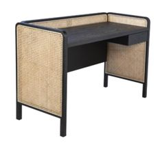 The cane paneled sides of this unique desk makes for a special statement in a home from Dovetail Furniture and Designs. Home Office Space, Office Spaces, Dovetail Furniture, Unique Desks, Desk Styling, Cane Furniture, Home Office Organization, Home Furnishings, New Homes