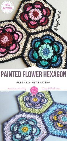 Painted Flower Hexagon Free Crochet Pattern   EASYWOOL