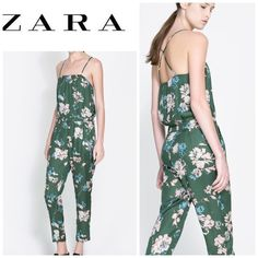 sold New ZARA JUMPSUIT Zara floral silky jumpsuit. Features thin straps. This piece will get you so many compliments!  Perfect to layer or wear alone NWT!!! Amazing piece! Zara Pants Jumpsuits & Rompers