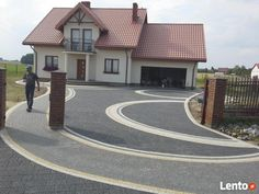 Fence Wall Design, Driveway Design, Backyard Pool Designs, Backyard Landscaping, Landscape Design, Garden Design, Modern Driveway, Garden Pavers, Paver Designs