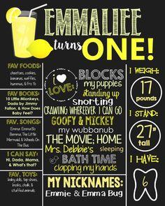 Lemonade Theme Birthday Chalkboard Sign- Printable Birthday Chalkboard Poster- Birthday Board- Personalized Custom Sign- Colorful- Lemons by SouthernElegancePE on Etsy