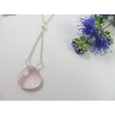 Rose Quartz Necklace, Sterling Silver Necklace, Faceted Quartz... ($80) via Polyvore featuring jewelry, necklaces, sterling silver birthstone jewelry, faceted necklace, cultured pearl necklace, freshwater cultured pearl necklace and anniversary jewelry