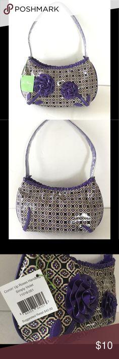 "Vera Bradley Small Shoulder Bag ""Comin' Up Roses Handbag Simply Violet"" Vera Bradley Bags Shoulder Bags"