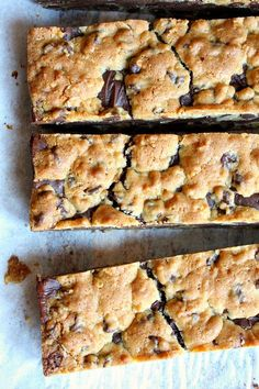 Gooey Chocolate Chip Sandwich Bars #recipe