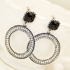 $6.28 Bohemian Style Vintage Exaggerated Earings Fashion Black Cross Earring Studs - BornPrettyStore.com