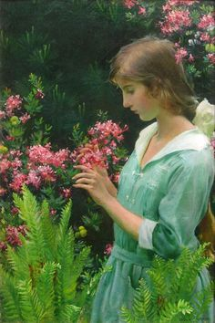 Charles Courtney Curran (American, 1861-1942) Wild Azaleas and Ferns, 1916  Oil on canvas 30 x 20 inches Signed and dated lower right Artist's record number on verso 182-12 c.c.c.