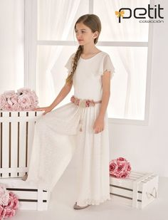 Comunion jump suit Girly Girl, Lace Skirt, Jumpsuit, Suits, Fashion, First Holy Communion, Pants, Dressmaking, Kid
