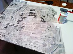 DIY Newspaper art painting by Crafted Love. An easy art tutorial that anyone can create.