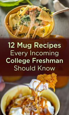12 Mug Recipes Every Incoming College Freshman Should Know Learning some tasty microwave tricks is one way to make your freshman year of college easier! Discover Student Loans is also there to help, offering coverage of up to of school-certified colle Fast Dinners, Quick Meals, Frugal Meals, Freezer Meals, Microwave Mug Recipes, Microwave Food, College Microwave Recipes, Easy College Recipes, Healthy Student Meals