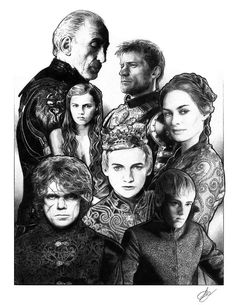 Inspired by the hit televisions show Game of Thrones, comes a portrait of the Lannister family. Game Of Thrones Drawings, Game Of Thrones Poster, Lannister Family, I Am Game, New Work, Medieval, Carving, Fan Art, Poses