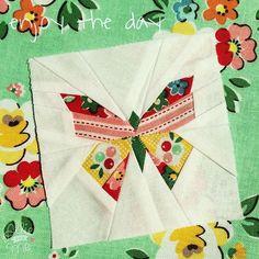 Beautiful paper pieced butterfly made with Nadra Ridgeway's Backyard Roses collection #iloverileyblake #fabricismyfun