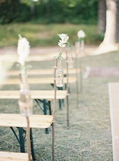 DIY bottles and sticks: http://www.stylemepretty.com/2015/06/27/wedding-decor-to-up-your-aisle-style/