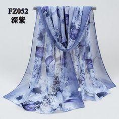 Chiffon Silk Scarfs Printed floral design