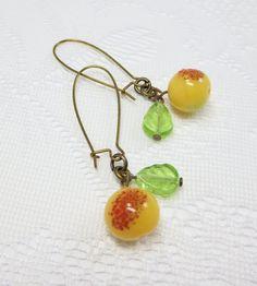 Peach Earrings Vintage Glass Fruit Earrings Spring Summer Jewelry