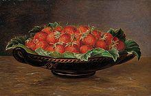 "Erdbeeren in Schale, 1842 Monogram ""L."", probably from the circle of Johan Laurentz Jensen Oil on wood, 18 x 25 cm Serving Bowls, Decorative Bowls, Strawberry, Template, Fruit, Tableware, File, Monogram, Wood"