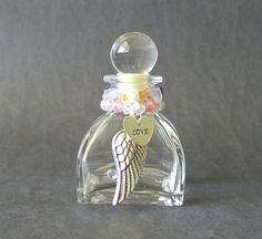 Upcycled Clear Glass Perfume Bottle Beaded With by PaisleyzPark, $16.00