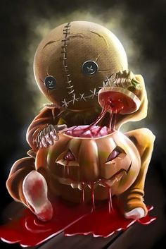 Creepy child wearing Halloween mask with a bloody pumpkin.