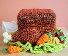 Crochet a tissue box to look like a turkey dinner. #willneverdo