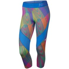 Nike Pro Hypercool Frequency Capri Running Tights ❤ liked on Polyvore featuring activewear, activewear pants, nike activewear, nike, nike activewear pants and nike sportswear
