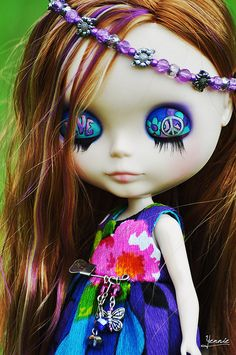 Peace, Love & Hippie Beads Road Trip Chicks !  Pick a doll best suits you for our trip ! Here is me !! I ♡ my art work GROOVY !! This is gonna be far out .scroll down found this pin to choose one .or  do a search Blythe Dolls HIPPIE !  Pin it to our board , Have fun PEACE & LOVE