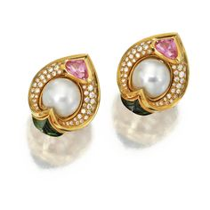PAIR OF CULTURED PEARL, TOURMALINE AND DIAMOND EARCLIPS, MARINA B, 1987.  Cultured pearls measuring approximately 12.8 mm., round diamonds weighing approximately 2.00 carats, set with pink and green tourmalines, mounted in 18 karat gold, signed © Marina B