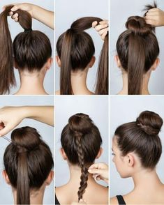 Dutt mit Flechtzopf If a normal bun is too boring: Tie a high ponytail and then wrap a bun using a d Cute Hairstyles, Braided Hairstyles, Beautiful Hairstyles, Elegant Hairstyles, Hairstyle Ideas, Ballet Hairstyles, Wedding Hairstyles, Layered Hairstyle, Medium Hairstyles
