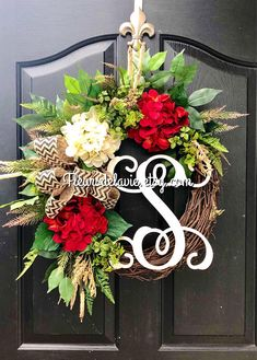 New item! This gorgeous summer door wreath is ready to grace your front door! Made up on a 18 grapevine wreath with moss, mixed greens of ferns, ivies, hydrangea and ficus leaves. 🌿 Gorgeous bright red and cream hydrangeas with beige and cream ac Spring Door Wreaths, Summer Wreath, Wreaths For Front Door, Front Porch, Front Doors, Diy Wreath, Grapevine Wreath, Wreath Ideas, Summer Door Decorations