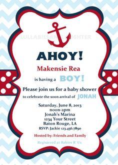 Any Color Chevron Nautical Anchor Baby Shower Birthday Invitation Digital File 5x7 / Sea Invitation / Anchor / Ahoy