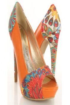 3ed4b05cbf4 Orange Faux Leather Printed Fabric Peep Toe Heels   Sexy Clubwear