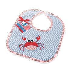Mud Pie Boathouse Baby Blue Seersucker Bib- Crab