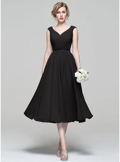 A-Line/Princess V-neck Tea-Length Chiffon Bridesmaid Dress With Ruffle