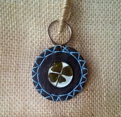 Real Four-leaf clover, Keyring leather and glass, Good luck, Talisman, Amulet by Yeneser on Etsy