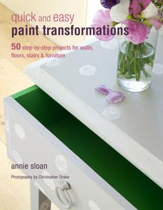 The first section of the book tells you everything you need to know before you start a project; how to prepare surfaces properly, choose the right paint for the right place, and use the best tools. Then, the 50 projects are divided into five sections: Aging and Distressing; Working with the Base; Working with Color; Hand painting; and Crackle, Gilding, and Decoupage. There are step-by-step images showing how to achieve the finished look.