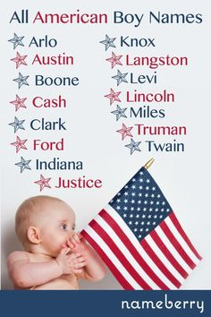 American Baby Names: 15 All-American boys - Little Boy Names - Ideas of Little Boy Names - All American boy baby names from Lincoln to Twain. Country Babys, Country Baby Names, Southern Baby Names, American Boy Names, American Baby, American Country, Lincoln, 20 Years Old, Unusual Baby Names