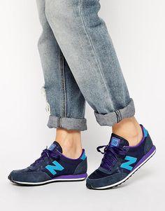 New Balance | Zapatillas de deporte de mezcla de ante en azul marino y violeta 410 de New Balance en ASOS