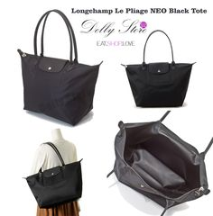 """98.89$ Longchamp Le Pliage Neo Black Tote. This spacious tote bag with long slender straps is made from the Le Pliage Néo satin nylon canvas. Le Pliage Néo reinvents the Le Pliage line in a more urban, more contemporary style. It features avant-garde materials and details. The """"couture"""" style running shoe sets the tone and continues to turn heads."""