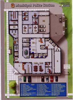 Municipal Police Station (995×1361); shadowrun, floorplan