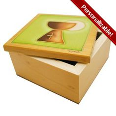 Wooden Communion Keepsake Box featuring a host & chalice. Great place to store all the gifts! Can be personalized too, $15.95. #CatholicCompany
