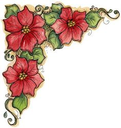 Flowers - Corner floral print - pictures and drawings to images and drawings in imprimirTodo Christmas Graphics, Christmas Clipart, Christmas Images, Christmas Art, Image Clipart, Illustration Noel, Christmas Drawing, Borders And Frames, Fabric Painting